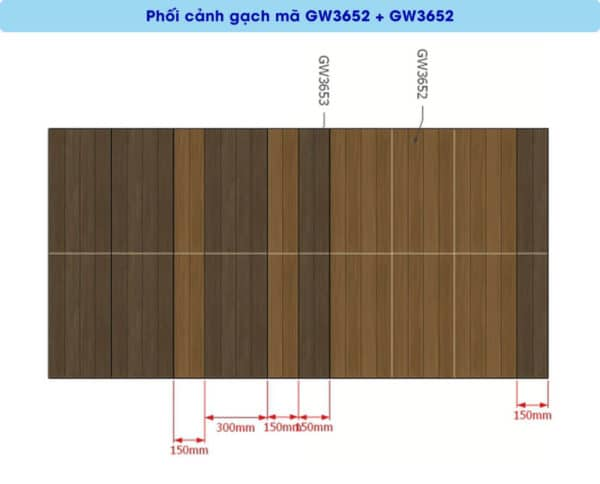 phoi canh gach men op tuong viglacera GW3653 kho 30x60