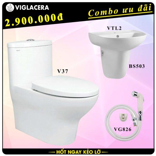 Combo khuyến mãi trọn bộ bồn cầu liền 1 khối Viglacera V37 kèm chậu rửa lavabo VTL2 có chân treo và vòi xịt vệ sinh VG826