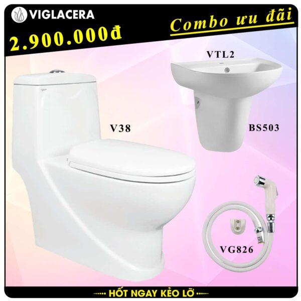 Combo khuyến mãi trọn bộ bồn cầu liền 1 khối Viglacera V38 kèm chậu rửa lavabo VTL2 có chân treo và vòi xịt vệ sinh VG826