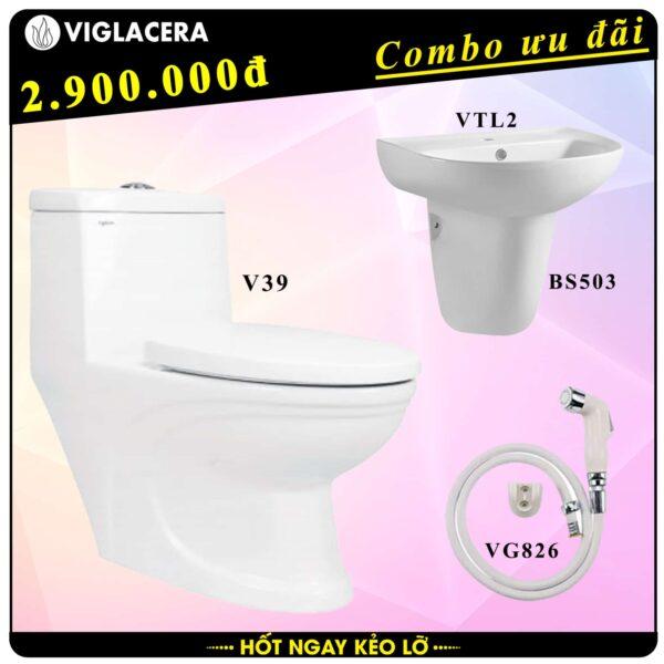 Combo khuyến mãi trọn bộ bồn cầu liền 1 khối Viglacera V39 kèm chậu rửa lavabo VTL2 có chân treo và vòi xịt vệ sinh VG826