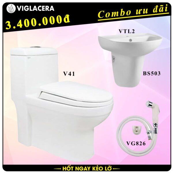 Combo khuyến mãi trọn bộ bồn cầu liền 1 khối Viglacera V41 kèm chậu rửa lavabo VTL2 có chân treo và vòi xịt vệ sinh VG826