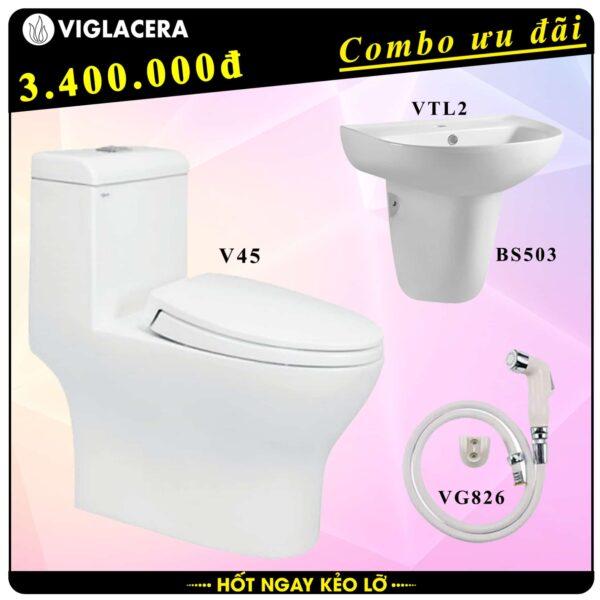 Combo khuyến mãi trọn bộ bồn cầu liền 1 khối Viglacera V45 kèm chậu rửa lavabo VTL2 có chân treo và vòi xịt vệ sinh VG826