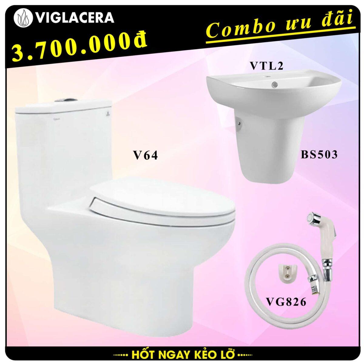 Combo khuyến mãi trọn bộ bồn cầu liền 1 khối Viglacera V64 kèm chậu rửa lavabo VTL2 có chân treo và vòi xịt vệ sinh VG826