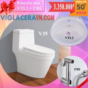 Combo khuyen mai bon cau lien 1 khoi viglacera v35 chinh hang tang chau rua lavabo vtl2 voi xit ve sinh inox i701