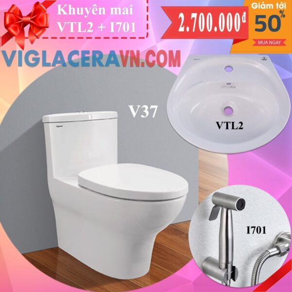 Combo khuyen mai bon cau lien 1 khoi viglacera v37 chinh hang tang chau rua lavabo vtl2 voi xit ve sinh inox i701