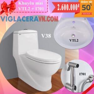 Combo khuyen mai bon cau lien 1 khoi viglacera v38 chinh hang tang chau rua lavabo vtl2 voi xit ve sinh inox i701
