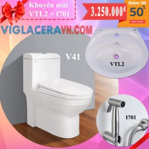 Combo khuyen mai bon cau lien 1 khoi viglacera v41 chinh hang tang chau rua lavabo vtl2 voi xit ve sinh inox i701