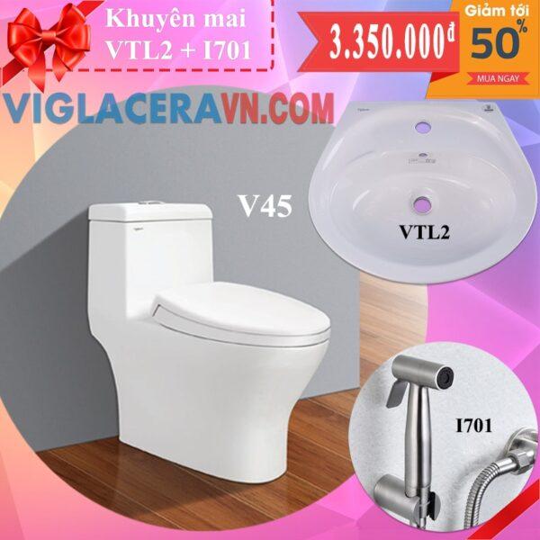 Combo khuyen mai bon cau lien 1 khoi viglacera v45 chinh hang tang chau rua lavabo vtl2 voi xit ve sinh inox i701