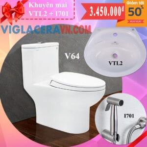 Combo khuyen mai bon cau lien 1 khoi viglacera v64 chinh hang tang chau rua lavabo vtl2 voi xit ve sinh inox i701