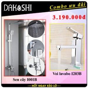 combo khuyen mai tron bo voi sen cay nong lanh Dakoshi I001B inox SUS304 khong gi set