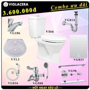 Combo khuyến mãi trọn bộ bồn cầu rời 2 khối Viglacera Vi66