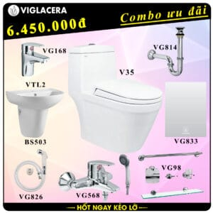 Combo khuyến mãi trọn bộ bồn cầu liền 1 khối Viglacera V35