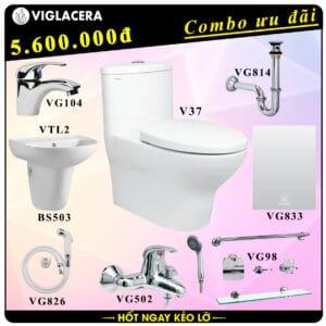 Combo khuyến mãi trọn bộ bồn cầu liền 1 khối Viglacera V37