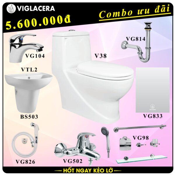 Combo khuyến mãi trọn bộ bồn cầu liền 1 khối Viglacera V38
