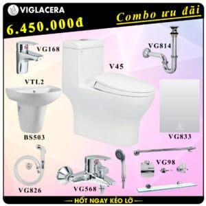 Combo khuyến mãi trọn bộ bồn cầu liền 1 khối Viglacera V45