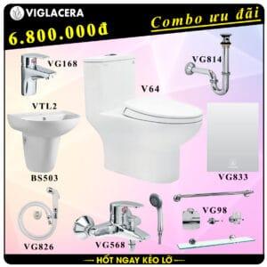Combo khuyến mãi trọn bộ bồn cầu liền 1 khối Viglacera V64