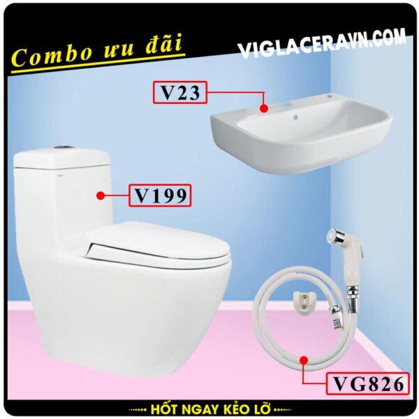Combo khuyến mãi trọn bộ trọn bộ bồn cầu liền 1 khối Viglacera V199, vòi xịt vệ sinh VG826, chậu rửa lavabo V23.