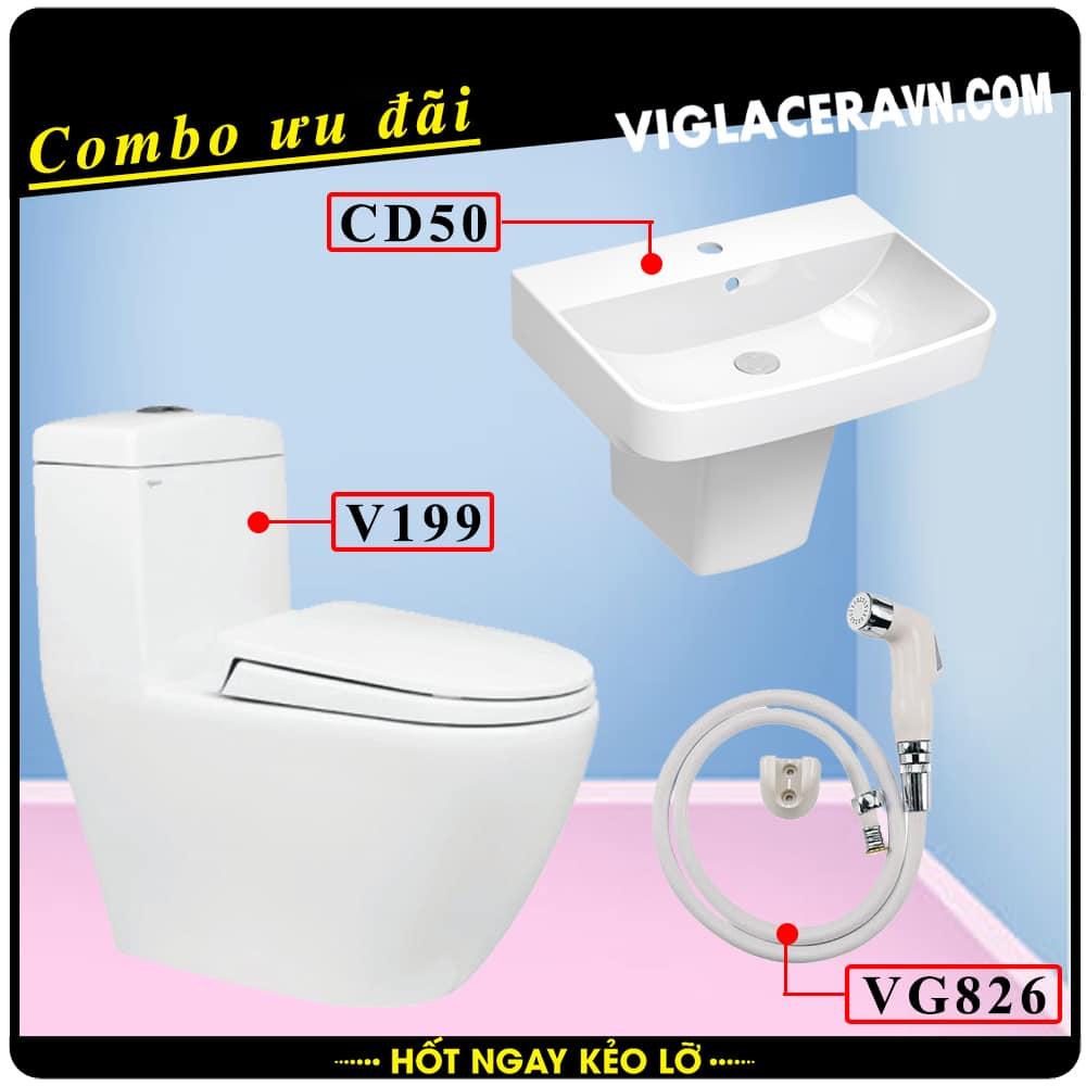 Combo khuyến mãi trọn bộ trọn bộ bồn cầu liền 1 khối Viglacera V199, vòi xịt vệ sinh VG826, chậu rửa lavabo CD50