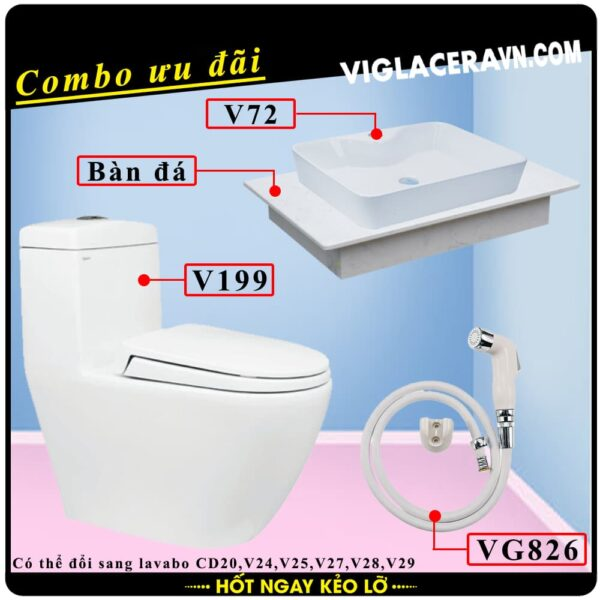 Combo khuyến mãi trọn bộ trọn bộ bồn cầu liền 1 khối Viglacera V199, vòi xịt vệ sinh VG826, chậu rửa lavabo V72, bàn dá lavabo