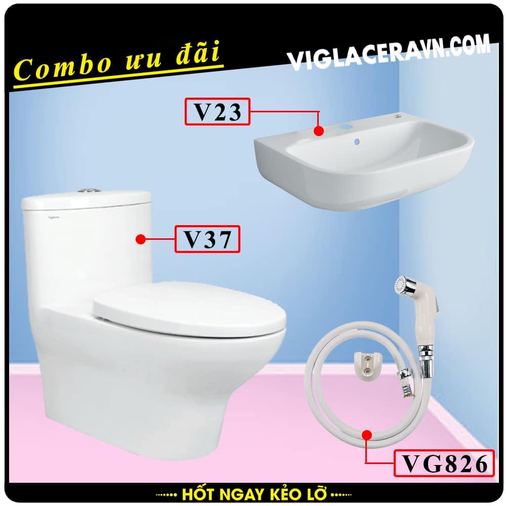 Combo khuyến mãi trọn bộ trọn bộ bồn cầu liền 1 khối Viglacera V37, vòi xịt vệ sinh VG826, chậu rửa lavabo V23.