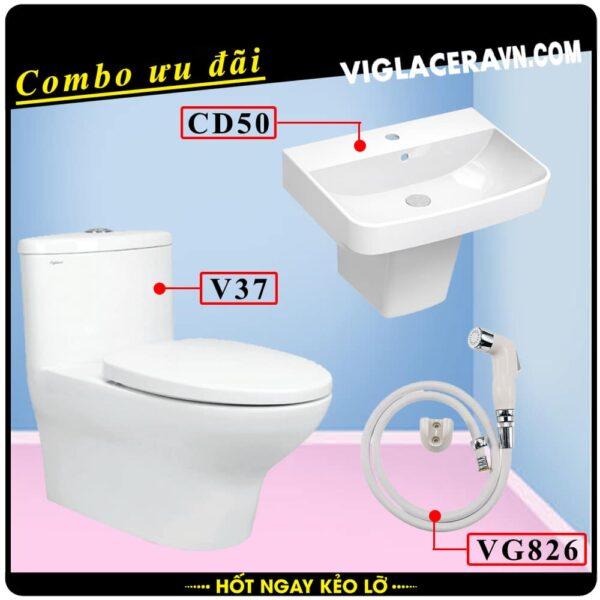 Combo khuyến mãi trọn bộ trọn bộ bồn cầu liền 1 khối Viglacera V37, vòi xịt vệ sinh VG826, chậu rửa lavabo CD50