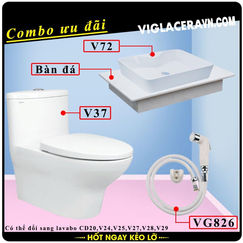 Combo khuyến mãi trọn bộ trọn bộ bồn cầu liền 1 khối Viglacera V37, vòi xịt vệ sinh VG826, chậu rửa lavabo V72, bàn dá lavabo