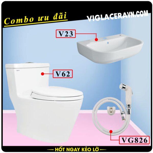 Combo khuyến mãi trọn bộ trọn bộ bồn cầu liền 1 khối Viglacera V62, vòi xịt vệ sinh VG826, chậu rửa lavabo V23.