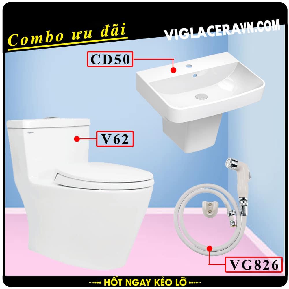 Combo khuyến mãi trọn bộ trọn bộ bồn cầu liền 1 khối Viglacera V62, vòi xịt vệ sinh VG826, chậu rửa lavabo CD50