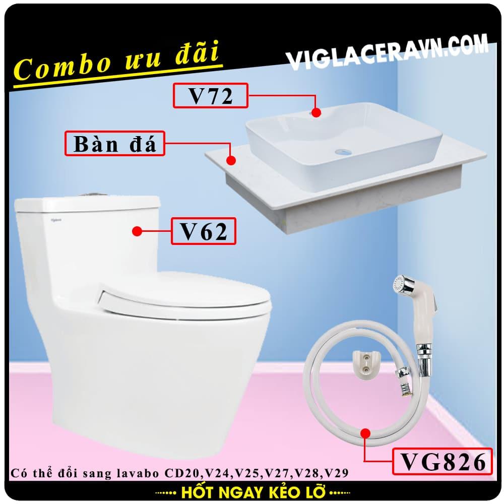 Combo khuyến mãi trọn bộ trọn bộ bồn cầu liền 1 khối Viglacera V62, vòi xịt vệ sinh VG826, chậu rửa lavabo V72, bàn dá lavabo