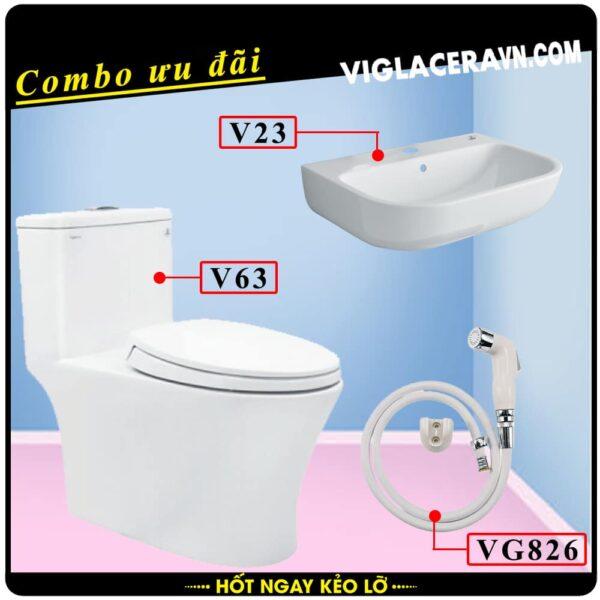 Combo khuyến mãi trọn bộ trọn bộ bồn cầu liền 1 khối Viglacera V63, vòi xịt vệ sinh VG826, chậu rửa lavabo V23.