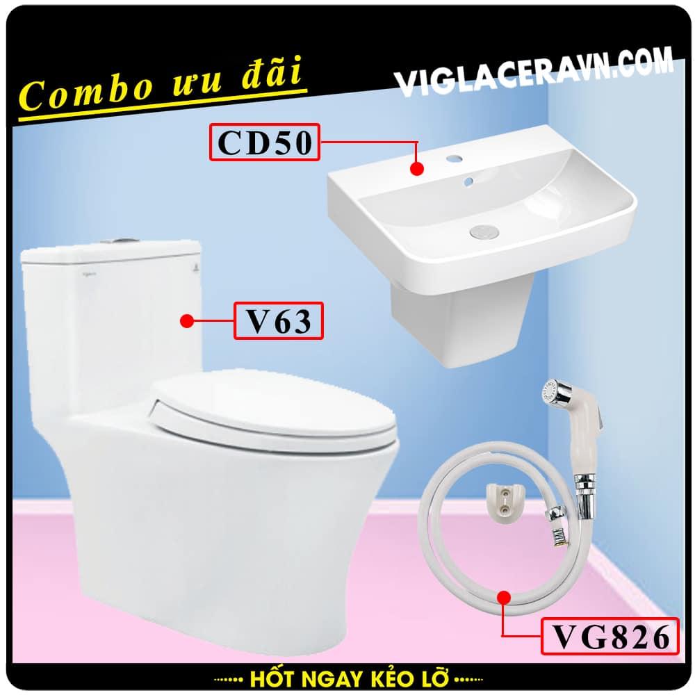 Combo khuyến mãi trọn bộ trọn bộ bồn cầu liền 1 khối Viglacera V63, vòi xịt vệ sinh VG826, chậu rửa lavabo CD50
