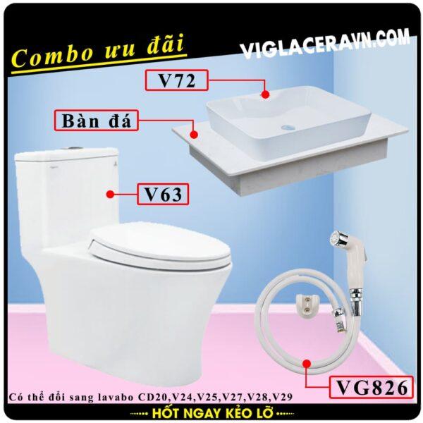 Combo khuyến mãi trọn bộ trọn bộ bồn cầu liền 1 khối Viglacera V63, vòi xịt vệ sinh VG826, chậu rửa lavabo V72, bàn dá lavabo
