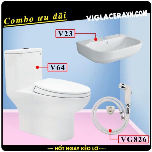 Combo khuyến mãi trọn bộ trọn bộ bồn cầu liền 1 khối Viglacera V64, vòi xịt vệ sinh VG826, chậu rửa lavabo V23.
