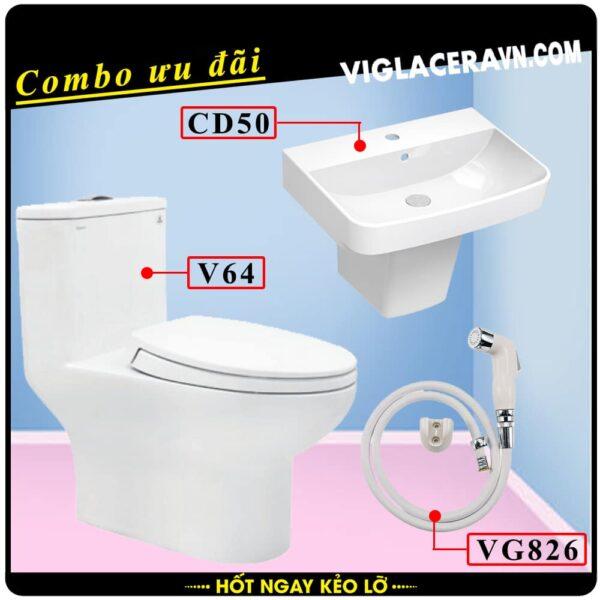 Combo khuyến mãi trọn bộ trọn bộ bồn cầu liền 1 khối Viglacera V64, vòi xịt vệ sinh VG826, chậu rửa lavabo CD50