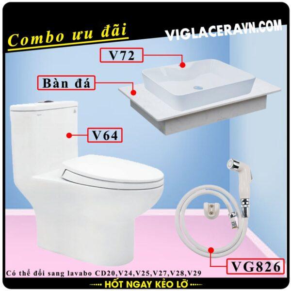 Combo khuyến mãi trọn bộ trọn bộ bồn cầu liền 1 khối Viglacera V64, vòi xịt vệ sinh VG826, chậu rửa lavabo V72, bàn dá lavabo