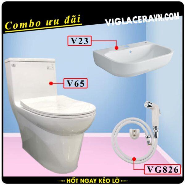 Combo khuyến mãi trọn bộ trọn bộ bồn cầu liền 1 khối Viglacera V65, vòi xịt vệ sinh VG826, chậu rửa lavabo V23.