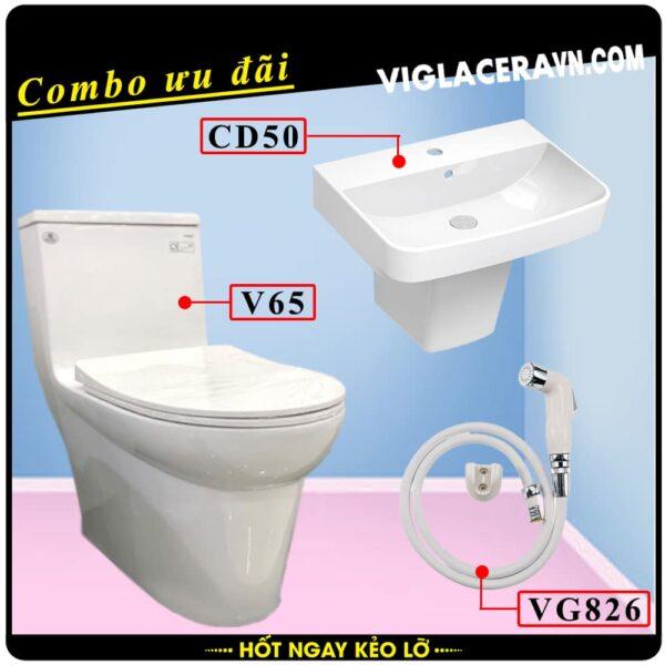 Combo khuyến mãi trọn bộ trọn bộ bồn cầu liền 1 khối Viglacera V65, vòi xịt vệ sinh VG826, chậu rửa lavabo CD50