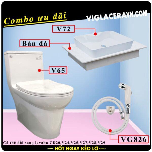 Combo khuyến mãi trọn bộ trọn bộ bồn cầu liền 1 khối Viglacera V65, vòi xịt vệ sinh VG826, chậu rửa lavabo V72, bàn dá lavabo